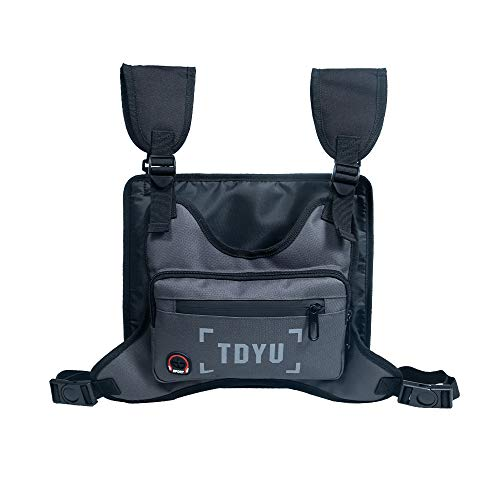 Klykon Chest Rig Bag Fashion Pack Running Harness Reflective Utility Tactical Light Bags for Men Women Night Running Exercise Hiking Jogging (Gray)