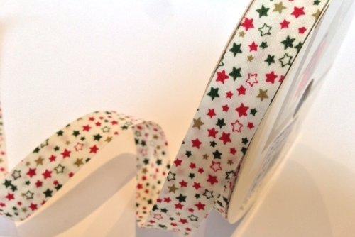 2m de cinta bies Fany de 30mm, color blanco con estampado de estrella de Navidad, 100% algodón