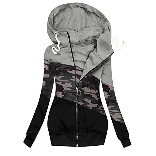 Damenmode Drucken Kapuzenjacke Reißverschluss Tasche Sweatshirt Outwear Schlanker Langer Mantel