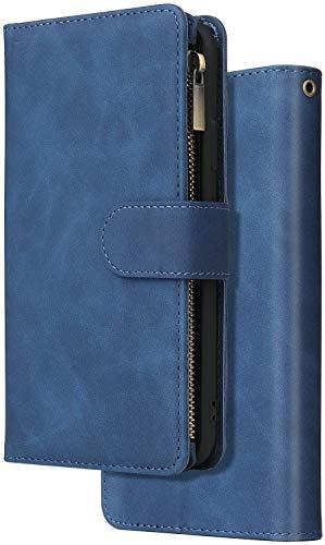 Felfy Kompatibel mit Huawei P Smart 2019 Hülle Multifunktion,Kompatibel mit Honor 10 lite Handyhülle PU Leder Retro Flip Cover Brieftasche Lederhülle Tasche mit Reißverschluss und 6 Kartenfach,Blau