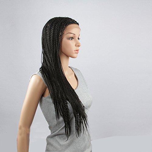 royalvirgin Fashion 61 cm Long Naturel Droit Ombre Noir Lumière Bule synthétique souple en dentelle perruques cosplay vert