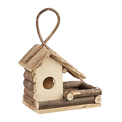 Relaxdays Vogelhaus zum Aufhängen, klassisches Vogelhäuschen aus Holz, handgemachte Vogelvilla zur Dekoration, natur