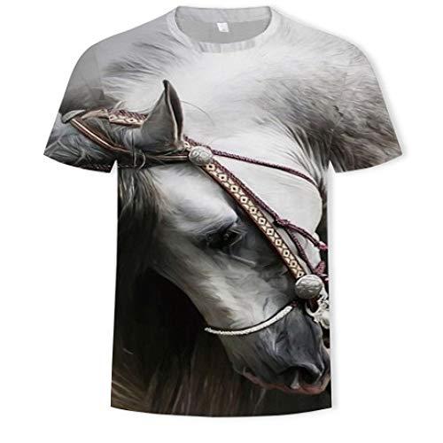 CZPF Heren Compressie Shirt Wit Paard 3D Digitale Print Coltrui Korte Mouw Heren Top T-Shirt