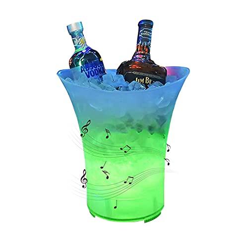 Uziqueif LED Secchiello Ghiaccio Champagne 5L Cestello Ghiaccio per Bottiglie con Altoparlante e Bluetooth, per Champagne, Vino, Birra, Ghiaccio, Refrigeratore, Bar - con Batteria al Litio 1200MA