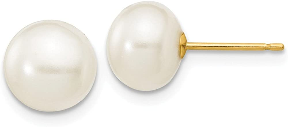 14k Yellow Gold White Button Cultured Pearl Stud Earrings (L-7 mm, W-8 mm)
