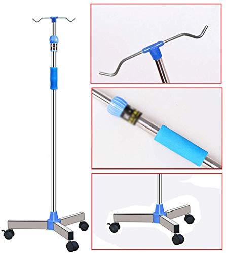 CART Haushalts-medizinische Gebrauchs-Wagen-Hand-LKWs Infusions-Stand-starker Edelstahl-Ausgangsmobilflaschen-Gestell-tragbare Klinik-Gebrauchsmobil-Tropfenfänger-Stand,mit Rädern,2 hook