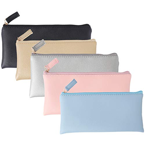 SUBANG 5 Pieces Small Makeup Bags Purse PU Leather Travel Cosmetic Pouch Simple Pencil Pouches (Black,Blue,Pink,Gold,Silver)
