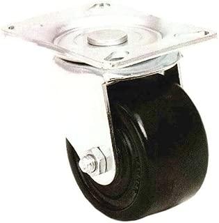 E.R. Wagner Plate Caster, Swivel with Thumb Screw Brake, Phenolic Wheel, Roller Bearing, 500 lbs Capacity, 3