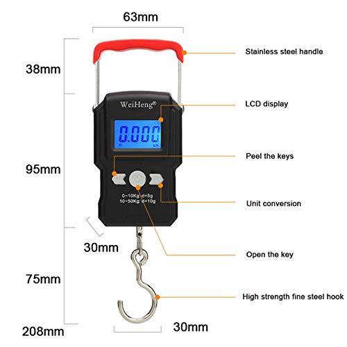 Escala de Grasa Corporal Escala de Laboratorio alt 50kg / 55 kg 5g / 10g LCD Pantalla Digital Mini Escala de pesaje electrónica Escala de Gancho de colgaje Doble precisión para la Pesca Outdoo Travel