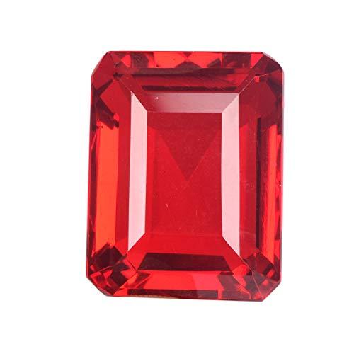 GEMHUB Roter Topas, Smaragdschliff, 94,45 Karat, facettiert, kristallklar, loser Edelstein für Schmuck