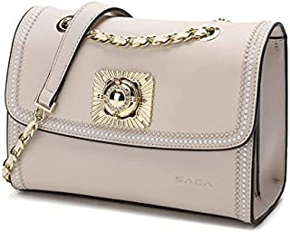 حقيبة كروس من الجلد للفتيات محاطة بإطار مطرز من SAGA