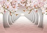 wandmotiv24 Fototapete Tunnel Rosa Blumen, XL 350 x 245 cm - 7 Teile, Fototapeten, Wandbild, Motivtapeten, Vlies-Tapeten, Wasser, 3D M3935