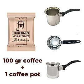 Mehmet Efendi Turkish Ground Coffee 100gr with Turkish Coffe Pot (100 gr Coffee + Pot 4)