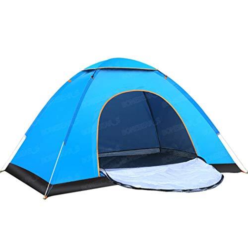 GETS - Tienda de campaña plegable para 3 a 4 personas, resistente al agua, con porche, ideal para la playa, senderismo, camping, pesca (azul, puerta individual para 1-2 personas con cubierta superior)