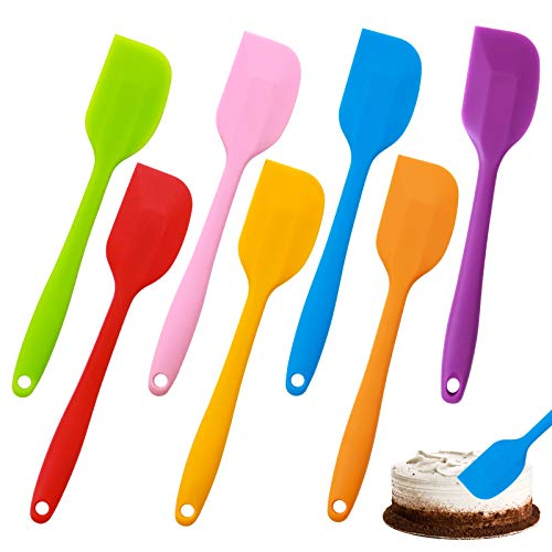 7 Pieces Silicone Spatulas 8.2 Inch Small Rubber Spatula Heat-Resistant Flexible Spatula Colorful Baking Spatulas for Kitchen Cooking, Mixing, Baking Tools