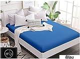Mixibaby 2 er Set Spannbettlaken Jersey Spannbetttuch 100% Baumwolle Bettlaken Spannbettuch Laken, Farbe:Blau, Größe:120 x 200 cm