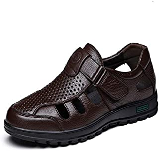 GHC Leisure Slippers & Sandals, Summer Rubber Sole Sandals for Men, Water Beach Shoes Hook&loop Strap Genuine Leather Holl...