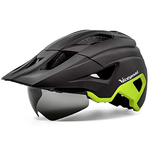 Victgoal Bike Helmet for Men Women Adults with Magnetic Goggles and Sun Visor Bicycle Helmet MTB Mountain Road Cycle Helmet with Rechargeable Rear Light (Black Yellow)