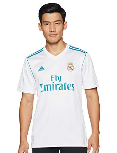 adidas Herren Trikot Real Madrid Heim Replica, White/Vivid Teal, XL, AZ8059