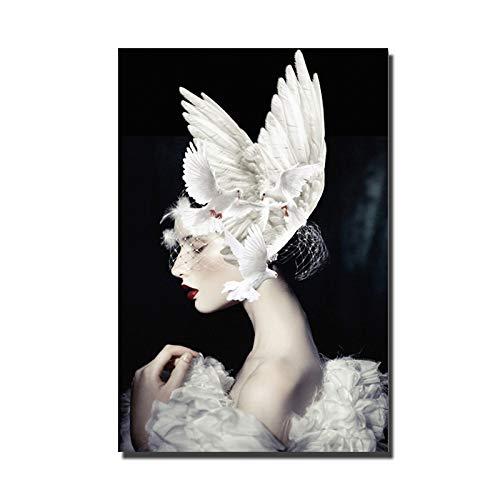 Vogel afbeeldingen, afbeeldingen, vleugels, canvas, schilderkunst, voor de woonkamer, bedrukt op canvas, motief: veer 30x40CM Unframed Meisje