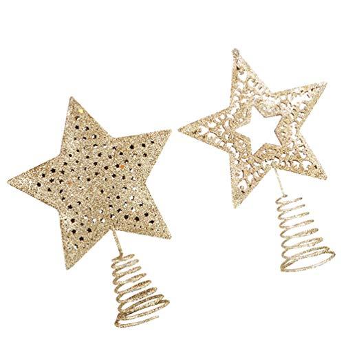 Abaodam 2 piezas de árbol de Navidad estrella luminosa decoración del árbol de Navidad, estrellas doradas con primavera (cinco puntas, estrella grande y mediana)
