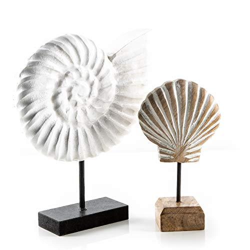 Logbuch-Verlag maritimes Deko Set - Ammonit aus Kunststein + Muschel aus Holz - Natur weiß - Deko für Badezimmer Restaurant Hotel