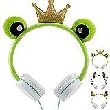 Kids Headphones for Gift, Carniway Animal Headphones for Girls, Boys, Teens, Wired Over On Ear Headphones for Children Birthday Xmas Gift, Party, 3.5 mm Kid Earphones for Phone/iPad/Laptop/TV (Frog)