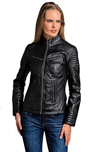 Urban Leather Damen Coole kurze Biker Damen Lederjacke LB01 UR-136, Schwarz, S (Herstellergröße: S)