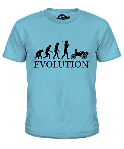 Candymix Liegerad Evolution des Menschen Unisex Jungen Mädchen T Shirt, Größe 12 Jahre, Farbe Himmelblau