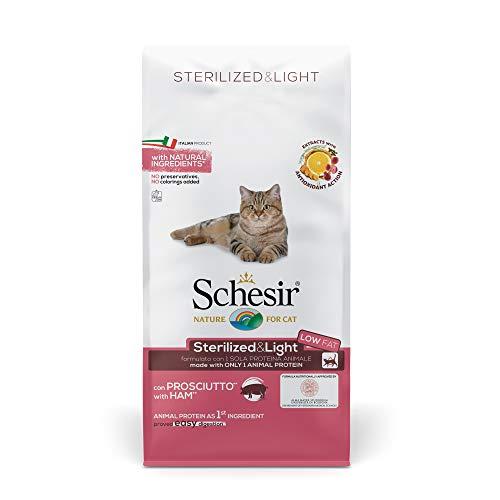 Schesir, pienso para Gatos Adultos esterilizados, línea Light con jamón, croquetas - Formato Bolsa de 10 kg