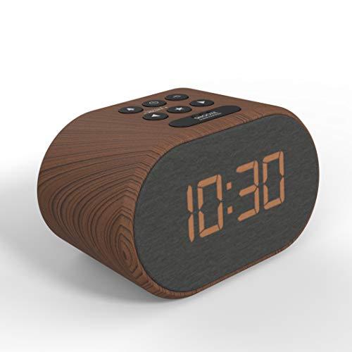 Radio Despertador con Cargador USB y Radio FM, Reloj Despertador Digital,Pantalla con Iluminación Regulable en 5 Pasos, Alimentación de Red con Batería de Refuerzo (Efecto Madera)