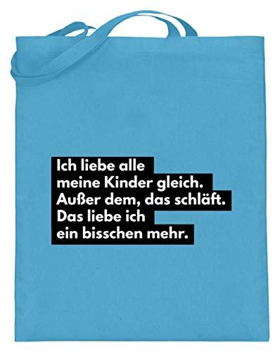 shirt-o-magic Mutter: Ich liebe schlafende Kinder - Jutebeutel (mit langen Henkeln) -38cm-42cm-Hellblau