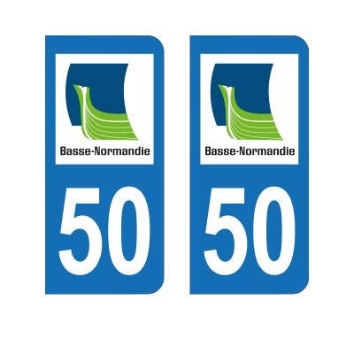 Zone-Stickers 2 Autocollants Plaque Immatriculation 50 Basse-Normandie Manche - Arrondis