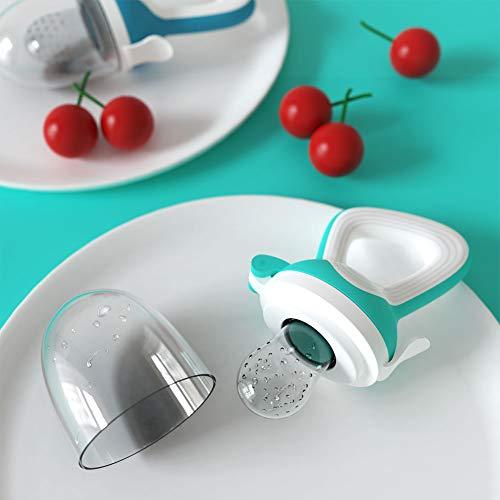 CalMyotis Fruchtsauger Baby, 2 Stück Kleinkind Fruchtsauger Schnuller Beißring für Obst Gemüse Brei, BPA frei, 6 Silikon Sauger in 3 Größen (Blau + Grün) - 6