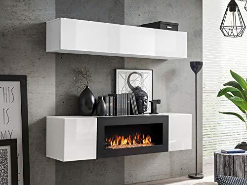 Moderne, weiße Wohnwand mit Kamin kaufen  Bild 1*
