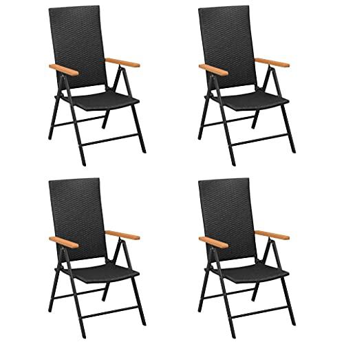 vidaXL 4X Gartenstuhl Klappstuhl Hochlehner Stuhl Stühle Gartenstühle Klappstühle Balkonstuhl Terrassenstuhl Gartenmöbel Poly Rattan Schwarz