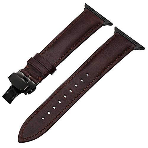 Italiaanse Echte Lederen Horlogeband Voor Iwatch Apple Horloge 5 4 3 2 38 Mm 40 Mm 42 Mm 44 Mm Staal Vlinder Gesp Band Polsband Riem, 44mm, Donker Bruin B