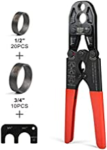 IWISS Pex Copper Crimp Ring Tool with Combo Jaw 1/2-inch & 3/4-inch suit All US F1807 Standards-Including 20PCS &10PCS PEX Copper Crimp Rings