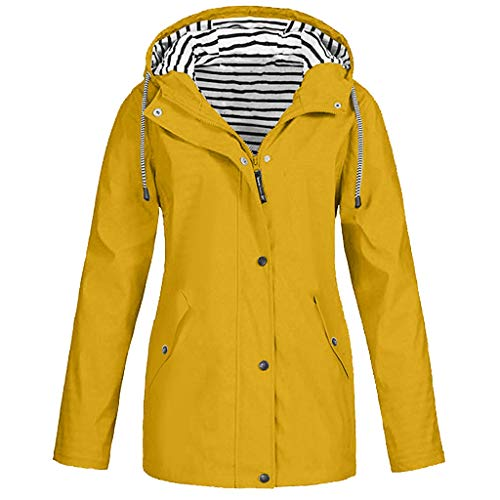 JESPER Rain Jacket Women Waterproof with Lined Raincoat with Hood Best for Outdoor Active Travel Hiking Yellow