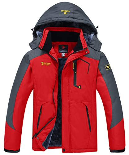 donhobo Jacken Herren Wanderjacke Damen Winter Outdoor Mantel Wasserdicht Regenmantel Winddicht Fleecejacken Hooded Skijacken Softshelljacke (Rot,L)