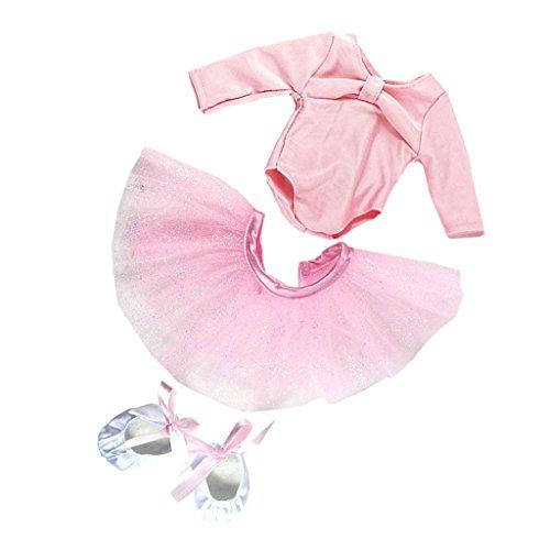 Conjunto de Zapatos Flacos de Falda de Danza de Ballet para 18 Pulgadas Americanas Chica Muñecas