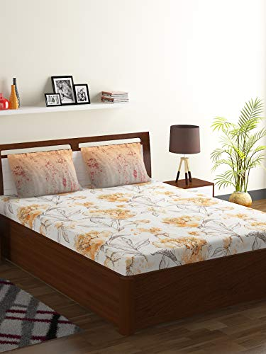 Bombay Dyeing 104 TC 100 % Cotton Double Bedsheet and 2 Pillow Covers