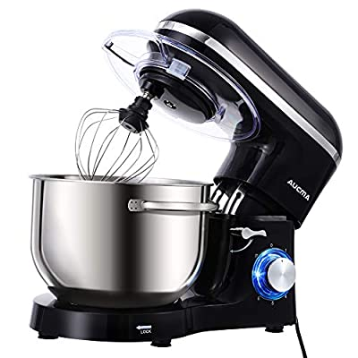 Aucma Stand Mixer,6.5-QT 660W 6-Speed Tilt-Head Food Mixer, Kitchen Electric Mixer with Dough Hook, Wire Whip & Beater (6.5QT, Black) from AUCMA