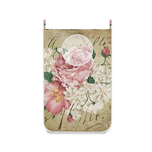 ISAOA - Grande cesto portabiancheria da appendere, per camera da letto, cameretta, ripostiglio, porta armadio, stile vintage shabby chic, rosa floreale con rose rosa rosa