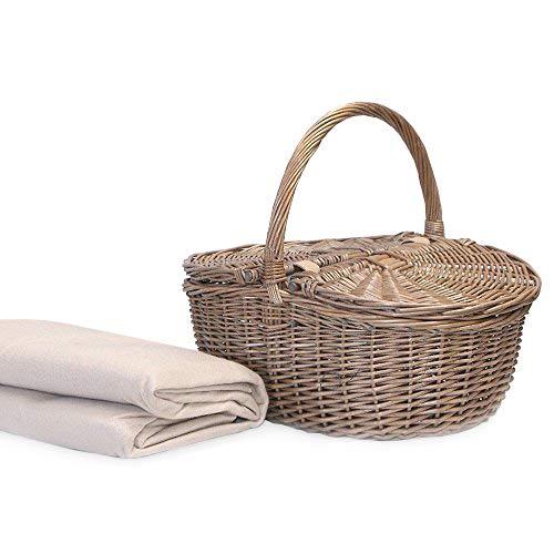 Fine Food Store Wicker Picknick oder Ablagekorb in einem ovalen Design enthält eine Creme Fleece Picknickdecke - Geschenkideen für Weihnachten, Geburtstag, Valentinstag, Muttertag, Hochzeit, Jubiläum