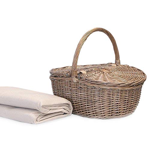 Wicker Picnic or Storage Basket in an Oval Design Includes a Cream Fleece Picnic Blanket - Gift Ideas for Christmas, Birthday, Valentines, Mothers Day, Wedding, Anniversary, Business and Corporate