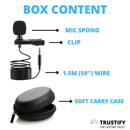 Trustify® Collar Mic Lavalier Microphone Lapel Mike Condenser with Carry Case for Clear Voice Recording YouTube Vlogging Singing Teaching Mobile Video Recording (1.5 m -Black)