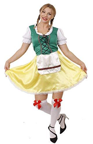 I LOVE FANCY DRESS LTD Dames Bavaroise Fille Fille Costume DE Fantaisie Oktoberfest Femme BIÈRE Allemande Femme Femme Wench FÊTE DE LA BIÈRE Vert ET Robe Jaune avec Tablier (Grand EU 44/46)