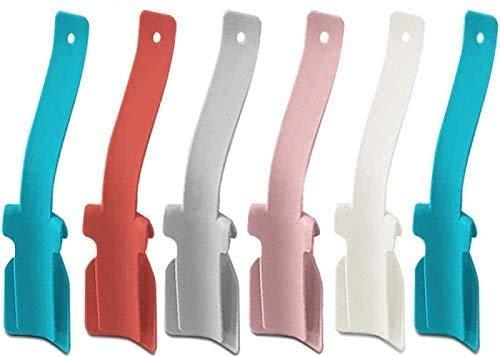6 Pcs Lazy Shoe Helper Portable Sock Slider - Handled Shoe Horn - Shoe Lifting Helper Easy on Easy Off, Plastic Shoehorn for Men, Women