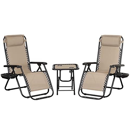 Totò Piccinni Set Bistrot 2 Sedie Sdraio GRAVITY e Tavolino pieghevole in textilene (Sabbia)